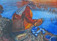 Afghan Washing Dishes at the River
