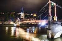 Footbridge Over the Saone River at Nght, Lyon, Fra