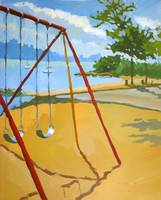 Playground swings Hudson River
