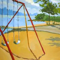Playground swings Hudson River Art Prints & Posters by Roger White