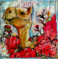 camel painting | animal art | mixed media | flower