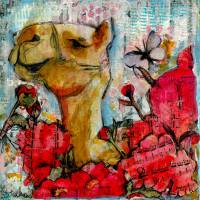 camel painting | animal art | mixed media | flower Art Prints & Posters by Miriam Schulman