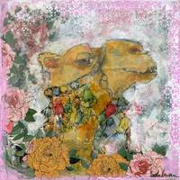 mixed media collage | camel painting | animal art