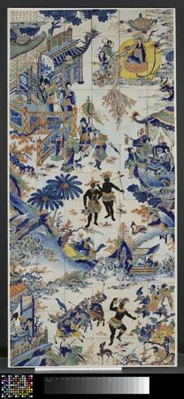 Tile panel with a Chinese landscape, Anonymous, c.