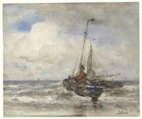 Two fishing boats at the beach, Jacob Maris, 1847