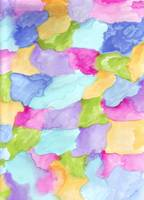 Green Blue Pink Yellow Purple Water Color