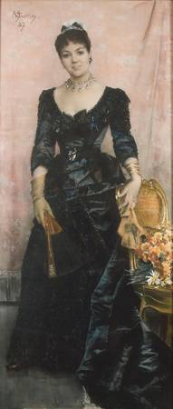 Alfred Stevens, (1823 -1906) , Portrait of a lady