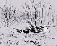 Soldiers Guarding Roadblock Battle of Bulge