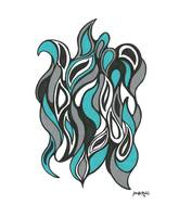 Turquoise and Gray Waves