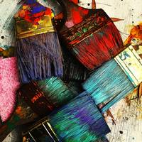 Color Fantasy of Well Used Paint Brushes