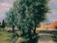 Building Site with Willows  by Adolph Menzel