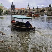 Small Boat on the Vltava River, Prague Art Prints & Posters by George Oze