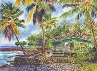 Green Kona Beach House Hawaii painting