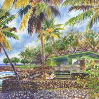 Green Kona Beach House Hawaii painting Art Prints & Posters by Jenny Floravita