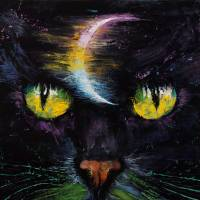 Moon Cat Art Prints & Posters by Michael Creese
