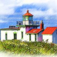 Sketched West Point Lighthouse Art Prints & Posters by Kirt Tisdale