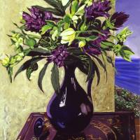 MALIBU HYACINTHS IN DEEP BLUE VASE Art Prints & Posters by David Lloyd Glover