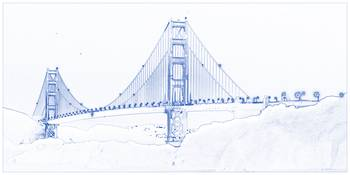 Blueprint drawing of golden gate
