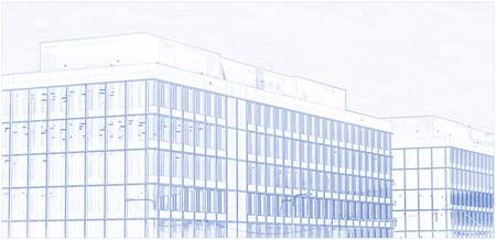 Blueprint Drawing of Glass Buildings 92