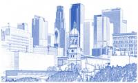 Blueprint drawing of los angeles downtown