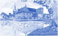 Blueprint Drawing of Moated Castle Southern Sweden