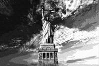 Dotted Pencil Drawing of Statue Of Liberty in the