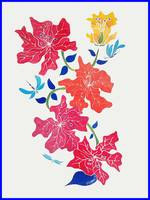 HIBISCUS AND DRAGONFLIES-original with blue border