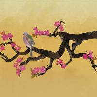 Plum Tree and Pigeon by I.M. Spadecaller