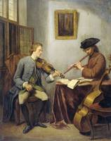 A Violinist and a Flutist Playing Music together (