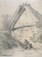 An old barn, 1814, United Kingdom, by John Cotman.