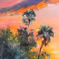 Palm Tree Tops Sunset Art Prints & Posters by Mazz Original Paintings