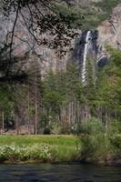 Bridal veil falls across Merced River