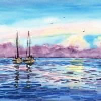 Purple Sky Seascape Watercolor by Irina Sztukowski Art Prints & Posters by Irina Sztukowski