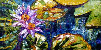 Modern Impressionist Lily Pond Reflections