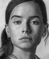 Daisy Ridley Pencll Drawing Portrait