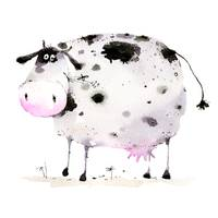 cute black and white cow