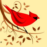 Red Northern Cardinal Art Prints & Posters by Pixel Paint Studio