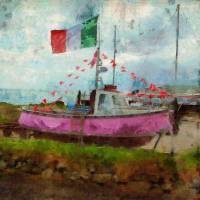 Pink Irish Boat Art Prints & Posters by Claire Bull
