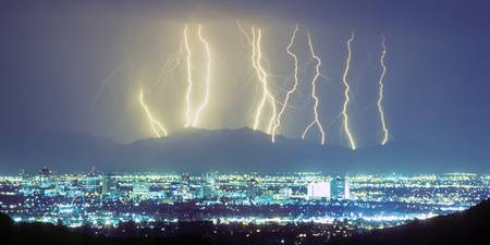 Lightning Over Phoenix Arizona Panorama