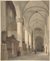 Vaulted Side Aisle of a Church, with Figures , Joh
