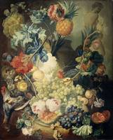Still Life with Flowers, Fruit and Birds, Jan van