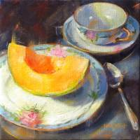 Cantaloupe on Fruit Plate Art Prints & Posters by Linda Smith