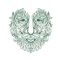 Green Man Head Front Mandala
