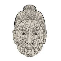 Maori Face with Moko facial Tattoo