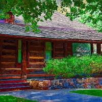 Log Cabin Front Porch Art Prints & Posters by Kirt Tisdale