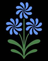 Pinwheel Flowers in Blue on Black