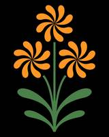 Pinwheel Flowers in Orange on Black
