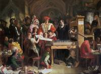Daniel Maclise - Caxton showing the first specimen