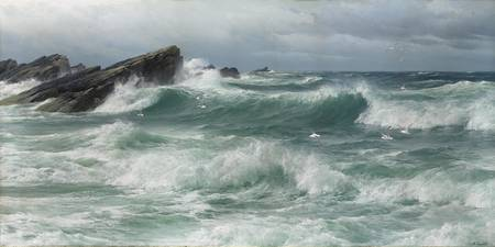 David James (1853-1904)  Waves breaking on a rocky