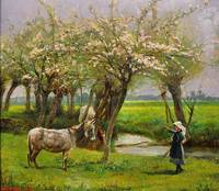 Edgar Barclay - Girl with Donkey in the Maytime 19